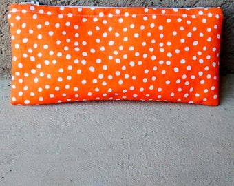 Orange polka dot zipper pouch, cosmetic case, makeup bag