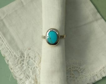 Vintage 950 sterling silver turquoise ring