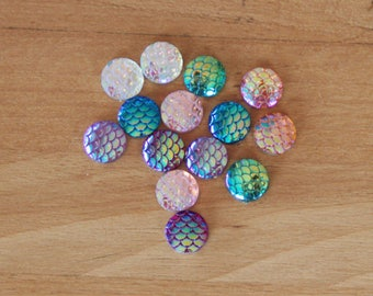 Cabochons 12 mm Mermaid resin iridescent pink/red/blue/green/orange/clear/purple AB