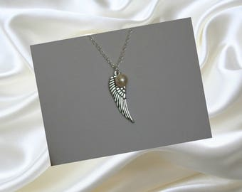 Silver Angel Necklace, Guardian Angel Jewelry, Angel Wing Charm, Silver Angel Jewelry, Religious Jewelry, Angel Lover Gift, Swarovski Gifts