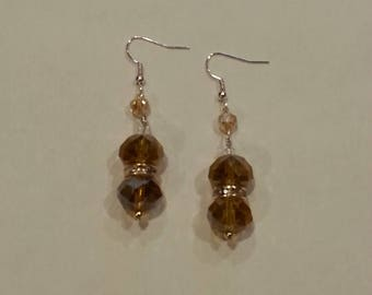 Gold Glass Bead Balls With Rhinestones And Swaroski Crystal Earrings