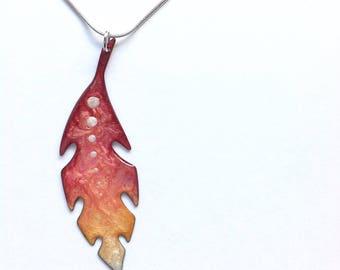 Phoenix feather necklace, phoenix pendant, feather necklace, natural brass pendant, statement necklace, large pendant, fantasy necklace