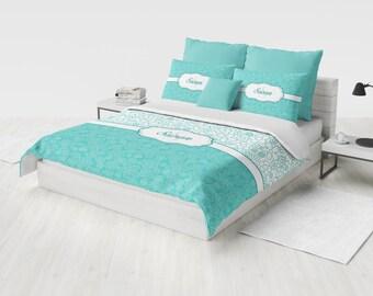 Custom Bedding Set, Personalized Duvet Cover Set, Monogram Bedding, Teal Floral Bedding, Twin, Full, Queen, King, Custom Girl Bedding