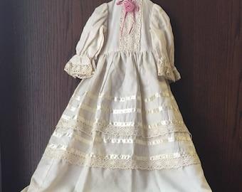 Vintage Cotton/Linen Doll Dress Christening Baptism Gown