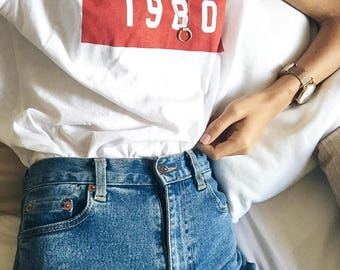 1980 Red Block T-Shirt - brandy melville inspired