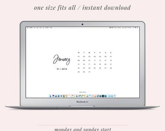 2018 Monthly Calendar Desktop Background and Wallpaper | Instant Download | Laptop and iPad Organiser