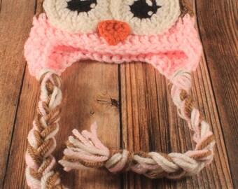 Owl Earflap Hat, Newborn, Pink, Crocheted