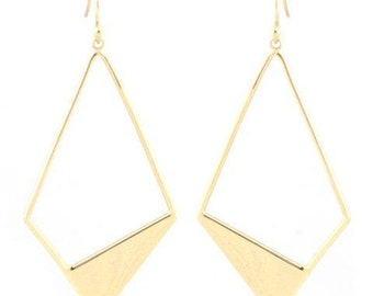 Geometric Cutout Drop Earrings in Gold