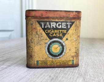 Vintage Target Cigarette Case with Match Strike Bottom / Old Cigarette Tin Pocket Box / Tobacco Tin