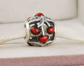 Fairy angel with wings dangle charm 100 925 sterling silver sweet cherries charm 925 sterling silver with enamel cherry fruit charm fits to all pandora sciox Images