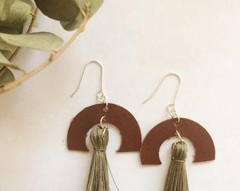 Leather earrings sterling silver tassel semicircle handmade