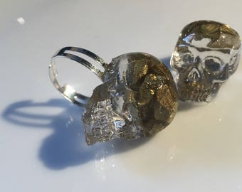Clear Resin Skull Statement Ring with Gold Effect Chips - Made to Order at Resincerity