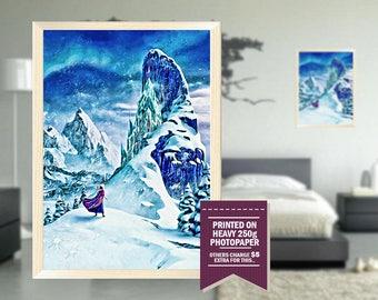 Frozen movie poster, fan art, frozen poster, frozen, GIFT, digital drawing design, blue, ice, frozen art, frozen print, great gift ideas