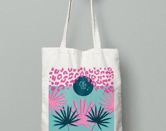 Tote bag * pink palm *.