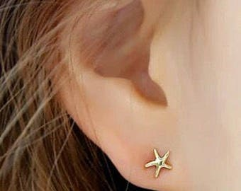 Tiny 14k Solid Gold, Tiny Sea Star, Stud Earring, Tiny Earring, Tiny real gold earrings, Gift for Girl, Bridal jewelry, Starfish
