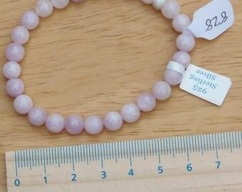 stretchy bracelet - Kunzite rounds, 925 sterling silver stardust bead