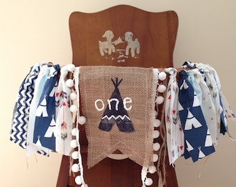 Wild One Birthday High Chair Banner/ TeePee Aztec Pow Wow Woodland Arrows Camping Theme/Cake Smash/Photo Shoot Prop/Boy