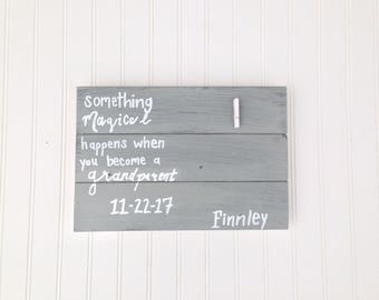 Grandparents Gift/Unique Photo Holder/Quote Sign/New Baby Gift/Wood Sign/Reclaimed Wood/Personalized Name and Birth date/Ready to Hang