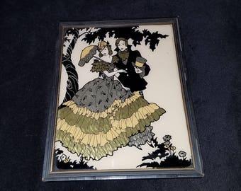 Antique Reliance Foil Reverse Silhouette Painting