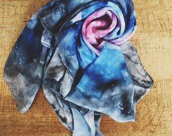 Cosmos Scarf; Hand dyed silk scarf