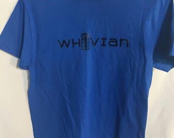 Whovian tee. Doctor Who. Tardis. Blue t shirt.