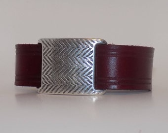 Leather Bracelet with Silver, Women's Leather Bracelet, Men's Leather Bracelet, Leather Bracelet, Leather Jewelry, Narrow Leather Cuff