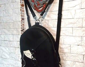 Handmade Leather Backpack/ black boho small vintage city rucksack Women