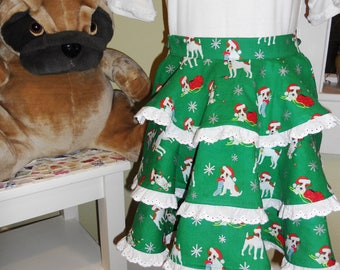 Child's Half Apron - Christmas Dog Print / Holiday Apron