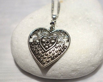 """Silver Heart on 18"""" Silver Chain with Ivory Pearl Bracelet and Dangling Heart"""