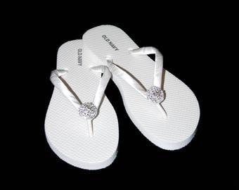 Bridal Flip Flops, Bridal FlipFlop, Wedding Flip Flops, Bridesmaid Flip Flops, Bride Beach Sandals,Beach Wedding, 26 Ribbon Colors
