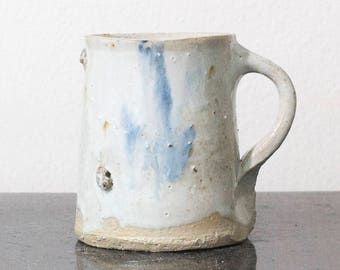 Handmade ceramic mug, white pottery coffee cup, with one- or two-finger handle