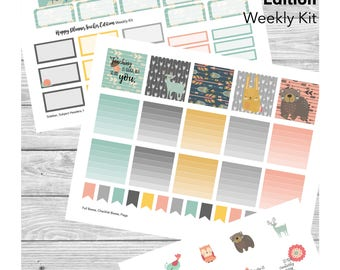 Autumn Happy Planner Teacher - Weekly Kit Sticker PRINTABLE - with Cut File - Fall Woodland Animals and Tribal Arrows, Pastel Colors