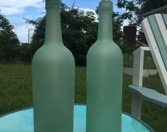 Sea Glass Wine Bottle Tiki Torch - Outdoor Decor - Home or Party Centerpiece