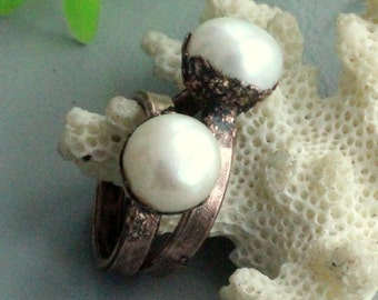 White pearl ring, electroforming jewelry, pearl, stackable rings, white pearl ring, stecking rings, white pearl