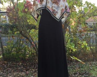 1970's Maxi Capelet Dress