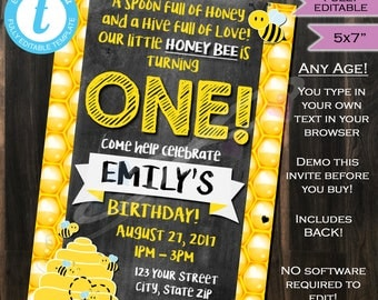 Bee Birthday Invite- Honey Bee Hive- Honeycomb- 1st Birthday Invitation- Any Birthday- One- Chalkboard- Printable 5x7 INSTANT Self-EDITABLE
