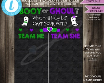 Halloween Gender Reveal Party Chalkboard- Cast your Vote Team He or She- Matching Little Ghost Sign Printable Custom INSTANT Self EDITABLE