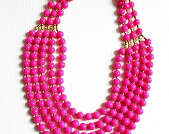Beaded necklace, African necklace, Layered Statement Gorgeous Beaded Fuchsia Necklace