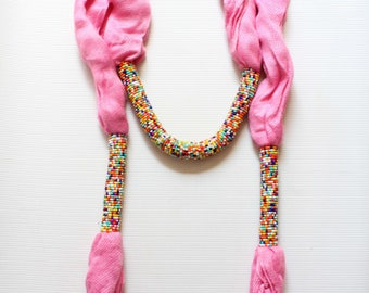 African scarf, Beaded scarf, Kenyan scarf, Fashion scarf, Womens scarf, Beautiful scarf, Pink scarf, Bead scarf