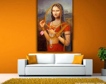 Tamatina Canvas Painting - Traditional Mona Lisa Ji - Renaissance Fusion Canvas Art - Giclee Art
