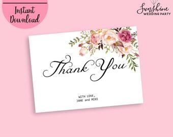 Thank you Card, Flat Thank You Card, Wedding Thank You Cards, Boho Chic Thank You Card, Floral Thank You Note, Thank You Card Set, Digital