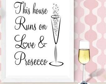 Prosecco Wall Print, Wall Art, Home Decor, Kitchen Print, Love and Prosecco Print, Prosecco Gift, Free UK Shipping