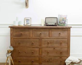 Rustic Chunky Wood Nine Drawer Chest