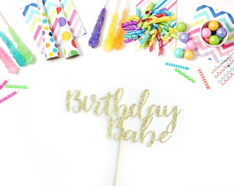 Birthday Babe Cake Topper, Birthday Party, Gold Glitter, Custom Birthday Cake Topper, Personalized, Handmade Party Decor, Happy Birthday