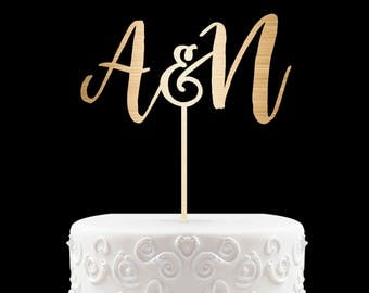 Rustic Cake Topper - Wedding Cake Topper - Initials Cake Topper - Personalized Cake Topper - Rustic Chic - Name Cake Topper - Wedding 30