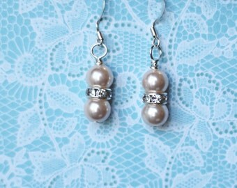 Handmade stacked pink pearl earrings
