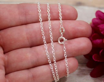 Sterling Silver Cable Chain Necklace - 925 Sterling Silver Necklace - 1.9mm Heavy Cable Chain Necklace - Make you own charm necklace