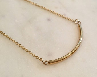 Gold necklace with gold bar