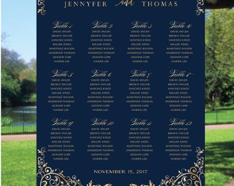 PRINTABLE calligraphy wedding Seating Chart, Navy wedding seating chart, Wedding seating chart alphabet, Wedding seating template, S76