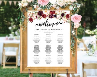 Printable Wedding Seating Chart, Wedding seating chart, Navy wedding Seating Chart, Wedding  seating chart alphabet, Find Your Seat, SC152